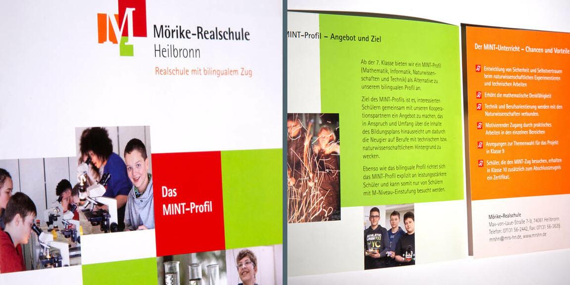 Moerike-Realschule Heilbronn - farbenfrohes, uebersichtliches Layout